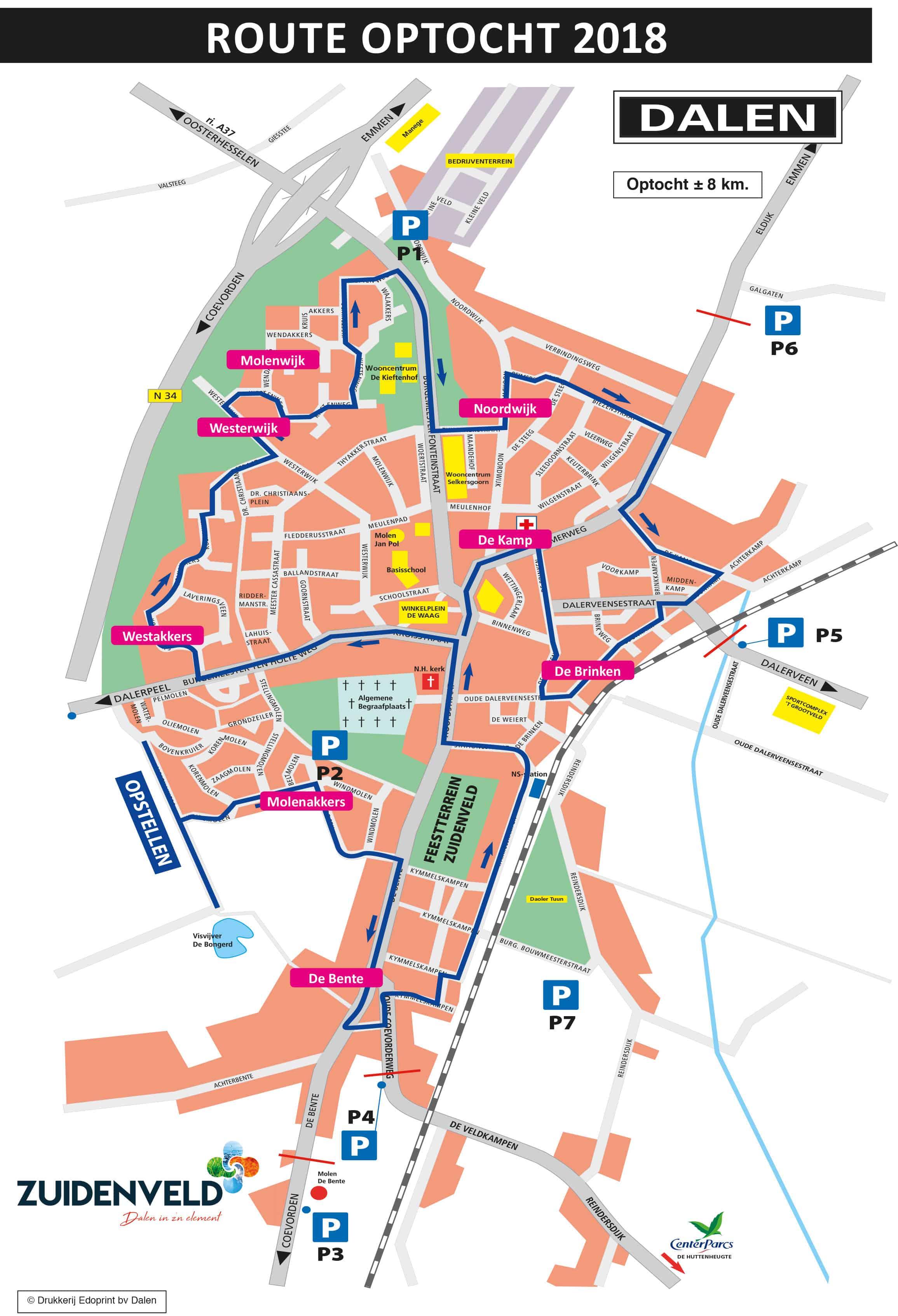 Route optocht Zuidenveld Dalen 2018